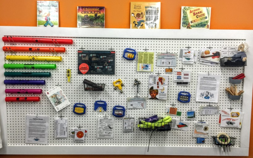 The Pegboard offers lots of information and inactives for kids to read and explore the science of sound.